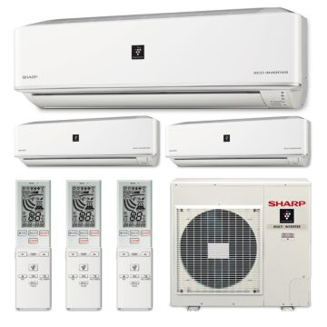 Sharp A-X4M30PU-3WF-03 - 30,000 BTU Tri-Zone Wall Mounted Mini Split Air Conditioner with Heat Pump 220V (12-12-12)