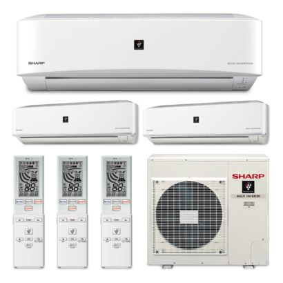 Sharp A-X4M30PU-3WF-05 - 30,000 BTU Tri-Zone Wall Mount Ductless Mini Split Air Conditioner Heat Pump 208-230V (9-12-15)