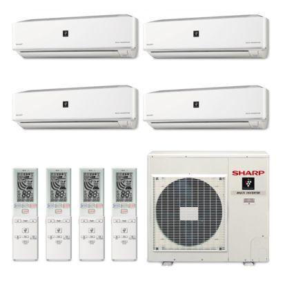 Sharp A-X4M30PU-4WF-00 - 30,000 BTU Quad-Zone Wall Mount Mini Split Air Conditioner Heat Pump 208-230V (9-9-9-9)