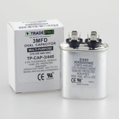 TRADEPRO® HCKS030V440217Z - 3 MFD 440V Oval Run Capacitor