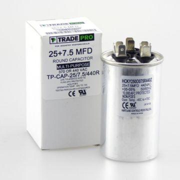 TradePro TP-CAP-25/7.5/440R - Run Capacitor, 25/7.5/440 VAC, Round, Dual Rated