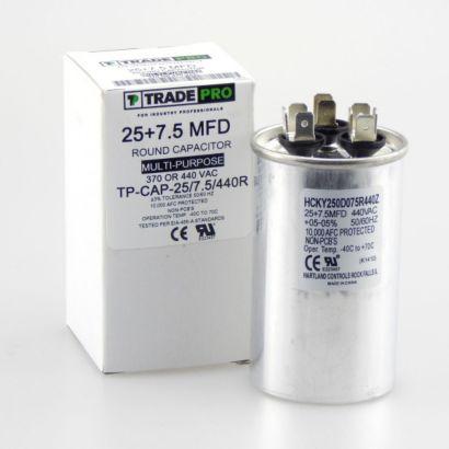 TRADEPRO® TP-CAP-25/7.5/440R - Run Capacitor, 25/7.5/440 VAC, Round, Dual Rated