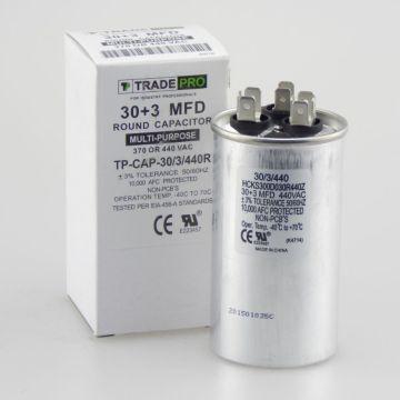 TRADEPRO® TP-CAP-30/3/440R - Run Capacitor, 30/3/440V, Round