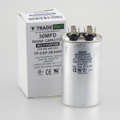 TRADEPRO® TP-CAP-30/440R - Run Capacitor, 30/440 VAC, Round