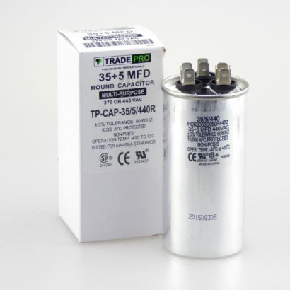 TRADEPRO® TP-CAP-35/5/440R - Run Capacitor, 35/5/440 VAC, Round, Dual Rated