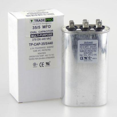 TRADEPRO® TP-CAP-35/5/440 - Run Capacitor, 35/5/440 VAC, Oval, Dual Rated