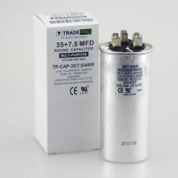 TradePro TP-CAP-35/7.5/440R - Run Capacitor, 35/7.5/440 VAC, Round, Dual Rated