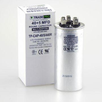 TradePro TP-CAP-40/5/440R - Run Capacitor, 40/5/440 VAC, Round, Dual Rated