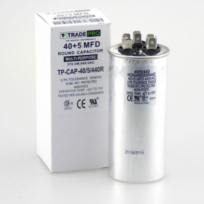 TRADEPRO® TP-CAP-40/5/440R - Run Capacitor, 40/5/440 VAC, Round, Dual Rated