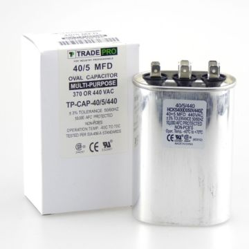 TradePro TP-CAP-40/5/440 - Run Capacitor, 40/5/440 VAC, Oval, Dual Rated