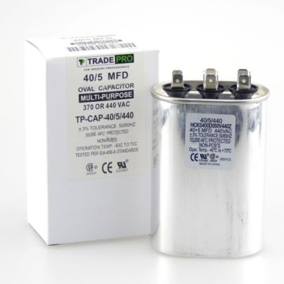 TRADEPRO® TP-CAP-40/5/440 - Run Capacitor, 40/5/440 VAC, Oval, Dual Rated