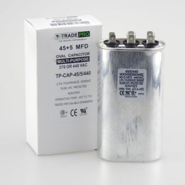 TradePro TP-CAP-45/5/440 - Run Capacitor, 45/5/440 VAC, Oval, Dual Rated