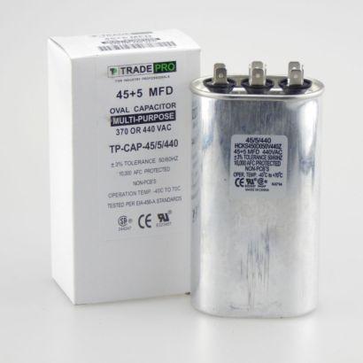 TRADEPRO® TP-CAP-45/5/440 - Run Capacitor, 45/5/440 VAC, Oval, Dual Rated