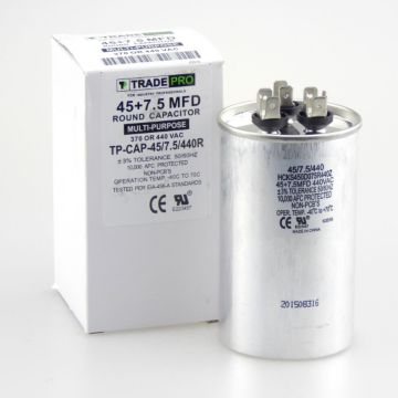 TRADEPRO® TP-CAP-45/7.5/440R - Run Capacitor, 45/7.5/440 VAC, Round, Dual Rated
