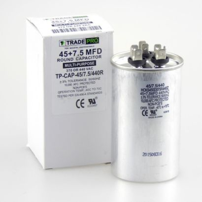 TRADEPRO® TP-CAP-45/7.5/440R - Run Capacitor, 45/7.5/440 VAC, Round, Dual Rated