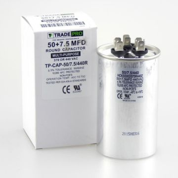 TRADEPRO® TP-CAP-50/7.5/440R - Run Capacitor, 50/7.5/440 VAC, Round, Dual Rated