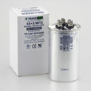 TRADEPRO® TP-CAP-55/5/440R - Run Capacitor, 55/5/440 VAC, Round, Dual Rated