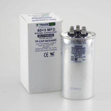 TradePro TP-CAP-60/5/440R - Run Capacitor, 60/5/440 VAC, Round, Dual Rated