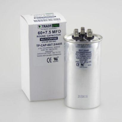 TRADEPRO® TP-CAP-60/7.5/440R - Run Capacitor, 60/7.5/440 VAC, Round