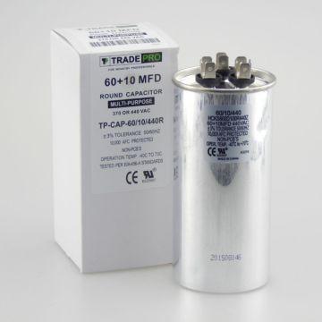 TradePro TP-CAP-60/10/440R - Run Capacitor, 60/10/440 VAC, Round, Dual Rated