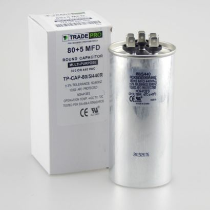 TRADEPRO® TP-CAP-80/5/440R - Run Capacitor, 80/5/440 VAC, Round, Dual Rated
