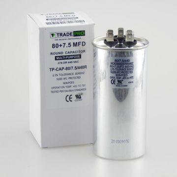 TRADEPRO® TP-CAP-80/7.5/440R - 80+7.5 MFD 440 Volt Round Run Capacitor