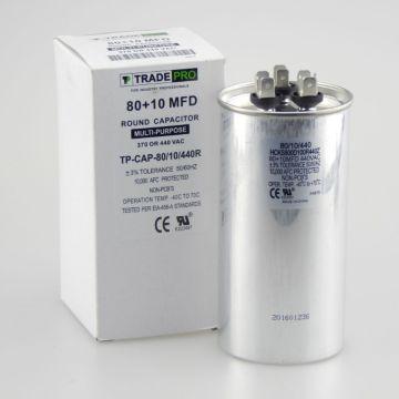 TradePro TP-CAP-80/10/440R - 80+10 MFD 440 Volt Round Run Capacitor