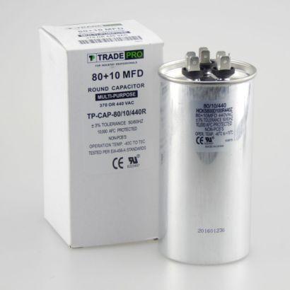 TRADEPRO® TP-CAP-80/10/440R - 80+10 MFD 440 Volt Round Run Capacitor