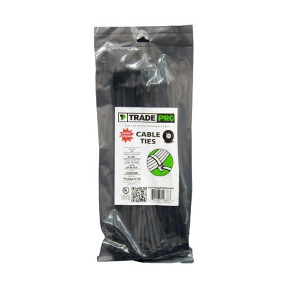 "TRADEPRO® TP-CABLETIE11B - 11"" Black Cable Ties - 100 per pack"