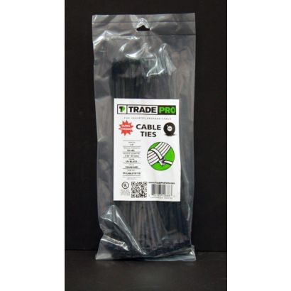 "TRADEPRO® TP-CABLETIE14B - 14"" Black Cable Ties - 100 per pack"