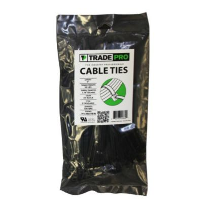 """TRADEPRO® TP-CABLETIE7B - 7"""" UV Black Cable Ties - 100 per pack"""