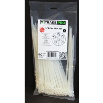 "TRADEPRO® TP-CABLETIESCREWMOUNTN - 8"" 50 lb.. Natural Screw Mount 100 per pack"