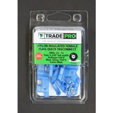 TRADEPRO® TP-TERM-BFFI250 - Insulated Female Flag Quick Disconnect Blue - 100 per pack