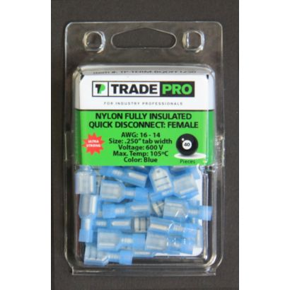 TRADEPRO® TP-TERM-BQDFFI250 - Fully Insulated Quick Disconnect Female Blue - 40 per pack
