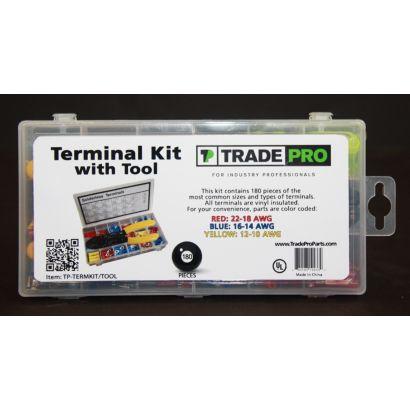 TRADEPRO® TP-TERMKIT/TOOL - Terminal Kit 180 Piece, Includes Crimping Tool