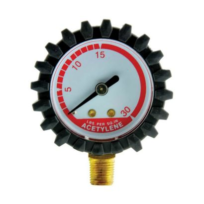 "Uniweld G15D - Replacement Gauge 1.5"" BM 30 PSI Round Steel Red Ln"