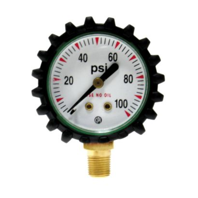 "Uniweld G49D - 1 1/2"" 100 PSI Oxygen Replacement Gauge with Protective Rubber Boots"
