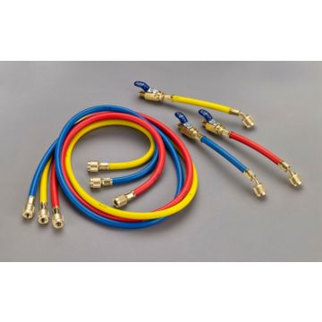 "Yellow Jacket 25985 - 60"" 3 Pack Hoses PLUS II 1/4"" Hose with FlexFlow valve"