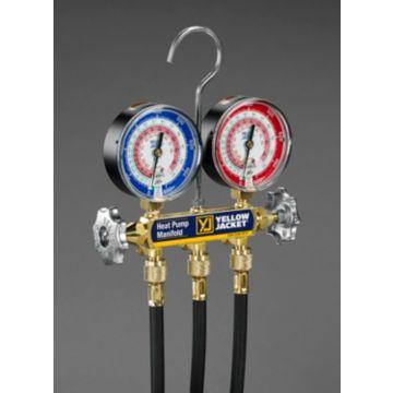 "Yellow Jacket 42044 - Heat pump manifold with 60""  black PLUS II hoses"
