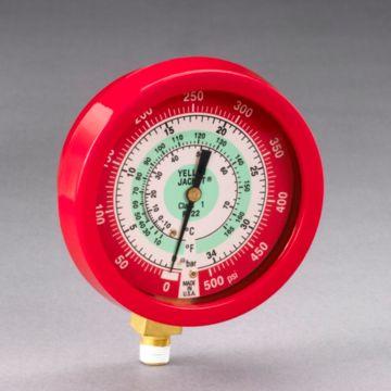 """Yellow Jacket 49511 - 3-1/2"""" L/F Red Pressure Ga. 0-500 psi R22"""