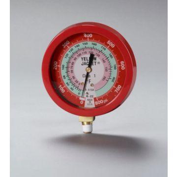 """Yellow Jacket 49515 - 3-1/2"""" L/F Red Pressure Ga. 0-800 psi R22/410A"""