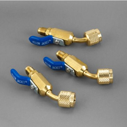 """Yellow Jacket 93842 - 1/4"""" Compact Ball Valve - 45° (3 Pack Hoses)"""